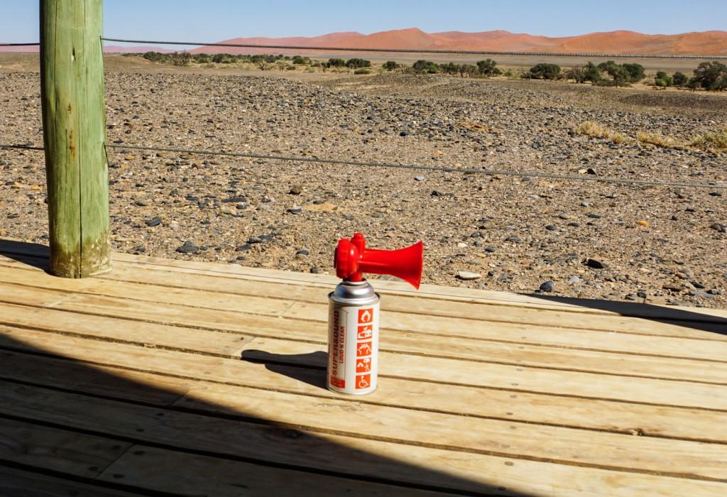Sicherheitsausstattung in der Hütte: falls mal ein Löwe kommt ...