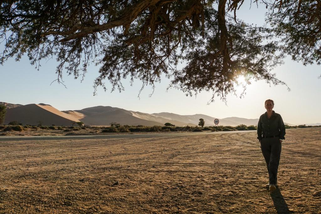 Das Licht der aufgehenden Sonne taucht die Landschaft in unwirkliche Farben und betont die Konturen der Dünen durch ein Spiel von Licht und Schatten. Durch den Sand fährt es sich manchmal wie auf Eis, manchmal etwas bumpy ... Schließlich erreichen wir Big Daddy.