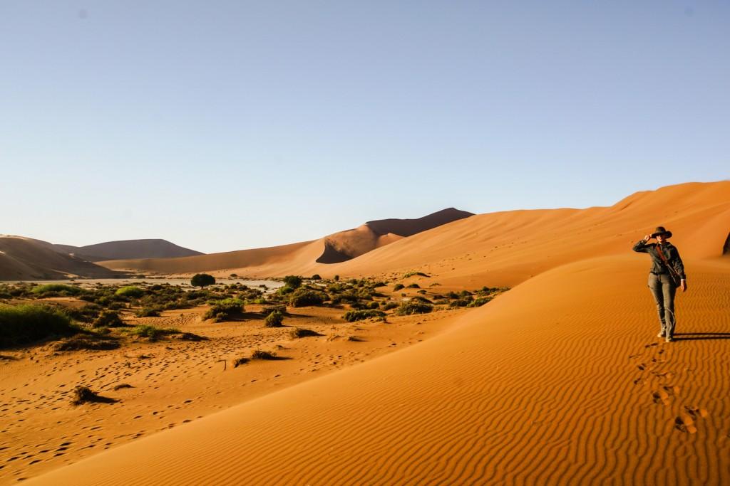 Auf dem Weg zu Big Daddy machen wir erste Bekanntschaft mit einem Sandsturm. Während des Aufstiegs auf dem Kamm verstärkt sich das zu einem gefühlten Orkan.